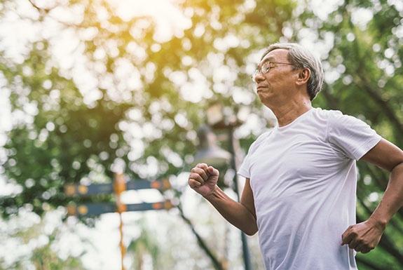 Man taking a morning run